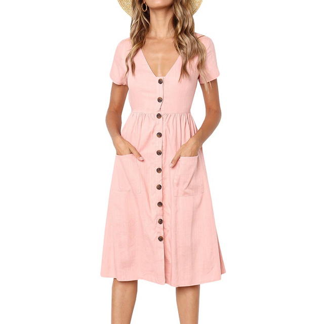89582c21b11 Single breasted linen dress Women s v Neck button down dress swing midi  dress with pockets 2018 Summer sundress vestidos mujer