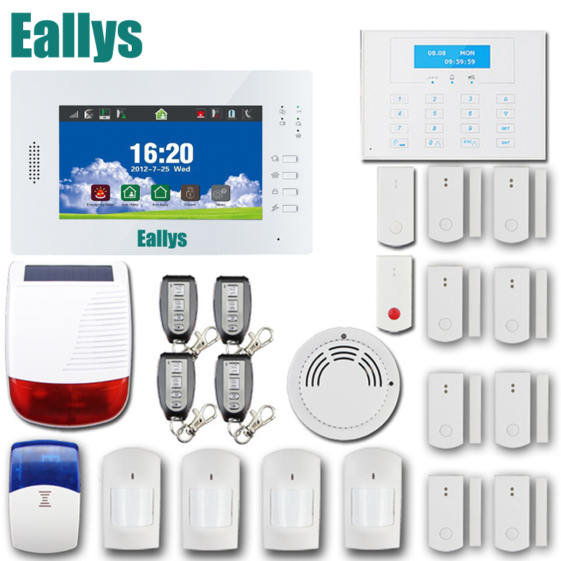 2016 Advanced LCD display touch screen panel 868mhz/ 433mhz GSM/ PSTN alarm systems security home with wireless solar siren 868mhz wireless gsm alarm system 7 inch touch screen home alarm with bulit in lithium battery with wireless outdoor solar siren