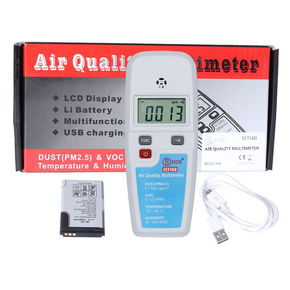 BSIDE EET100 LCD Air Quality Multimeter Dust VOC Temperature Humidity Meter Drop Shipping Wholesale digital indoor air quality carbon dioxide meter temperature rh humidity twa stel display 99 points made in taiwan co2 monitor