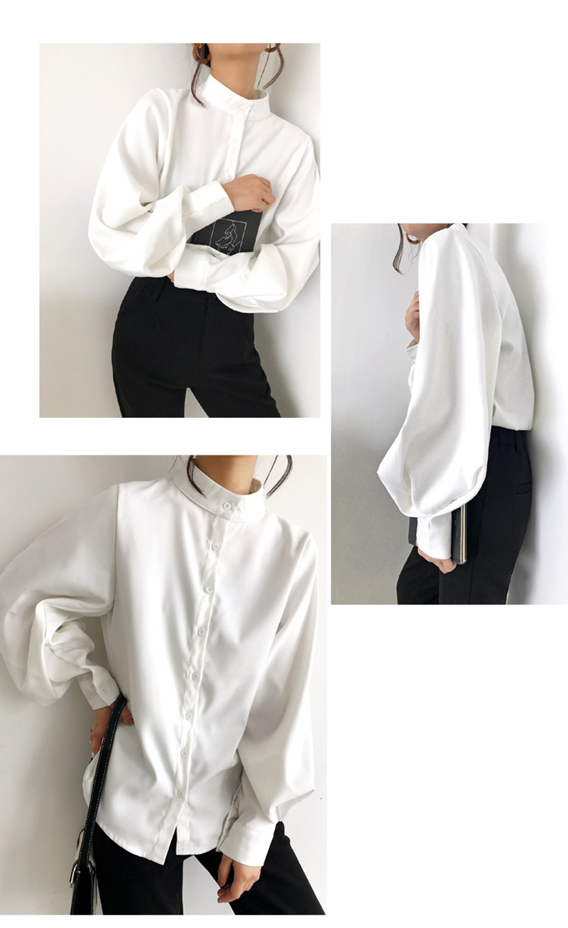 Vintage Lantern Sleeve Loose White Shirt