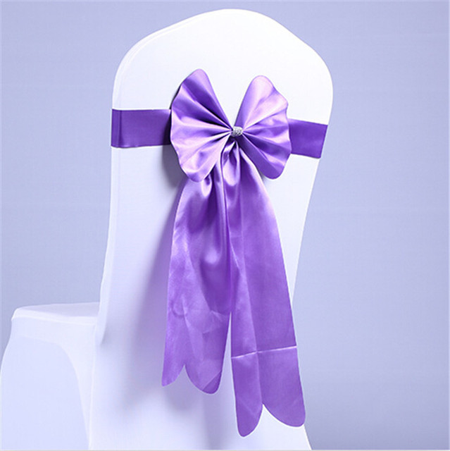 100pcs Big Bow Purple Chair Sashes Leather Wedding Bands For Party Banquet