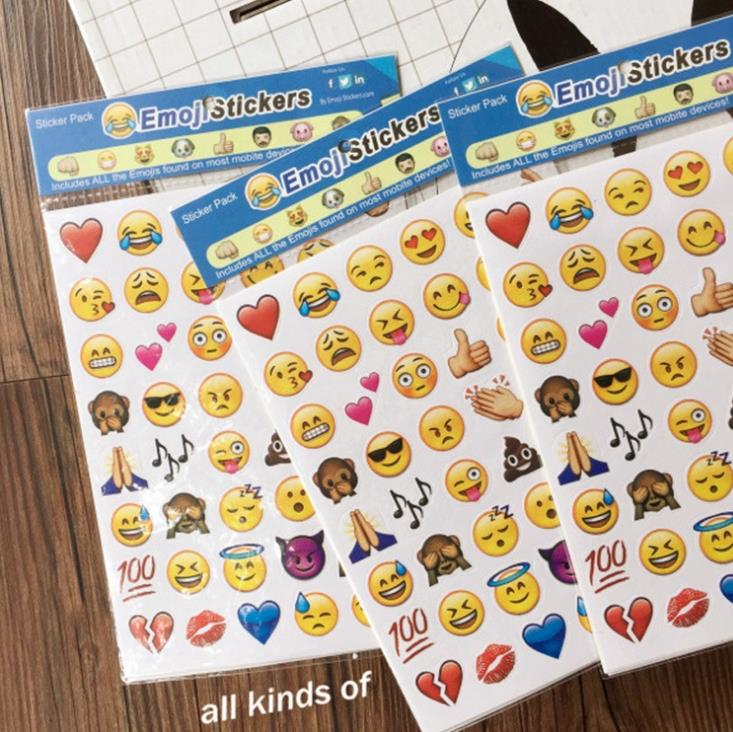 4 Pcs 192 Smiley Face Emoji Stickers Sheet Adhesive Smile Emoticons Die Cut Sticker Toy For Children Laptop Notebook Twitter