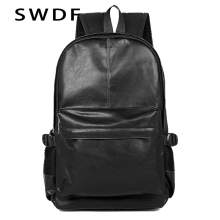 SWDF Brand Preppy Style Leather School Backpack Bag For College Simple Design Men Casual Daypacks mochila male New For Teenager стоимость