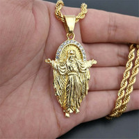 Hip Hop Necklace Stainless Steel Gold Color Iced Out Chains Full Rhinestone Crucifix Jesus Pendant Necklace For Men/Women Gifts