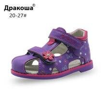 4bf3a566d Apakowa بو الجلود الفتيات أحذية الاطفال الصيف طفل الفتيات الصنادل الأحذية  Skidproof ل الصغار الرضع الأطفال الاطفال الأحذية قوس د.