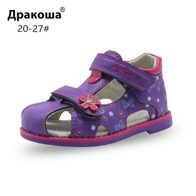 Apakowa עור מפוצל בנות נעלי ילדי קיץ תינוק בנות סנדלי נעלי Skidproof פעוטות תינוקות ילדים ילדי נעלי קשת תמיכה