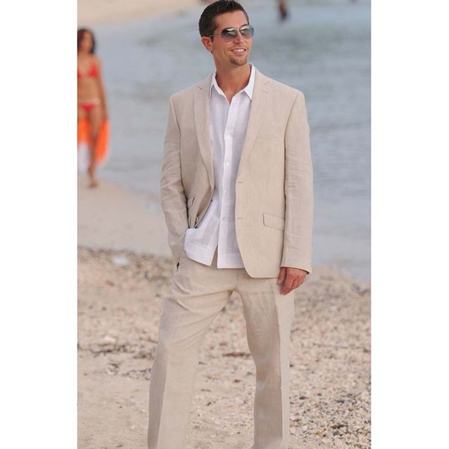 Summer Champagne Linen Mens Suits 2017 2 Ons Beach Wedding Prom Tuxedos Groom Wear Latest Blazer