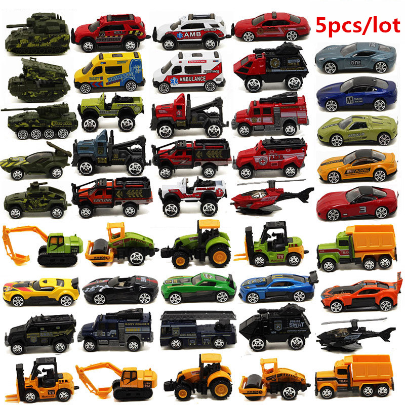 5cs/lot 1:64 Alloy Model Car Suit Army City Fire Engine Boy Toy Car For Children