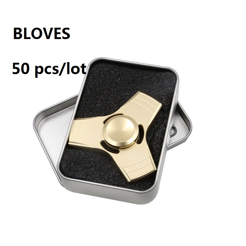 50 pcs/lot Bloves 3D Metal UFO Aluminum Alloy Finger Anti Stress Tri-Spinner Fidget Spinner Hand Spinner Toy Puzzle Spinning top two blade lighting anti stress toy color changing led finger spinner