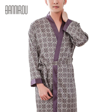 Man Robes Male Slap-up Faux Silk Plaid Purple Simple Full Thin Cool High Quality Bathrobe Spring Summer Autumn 2019 New One Size