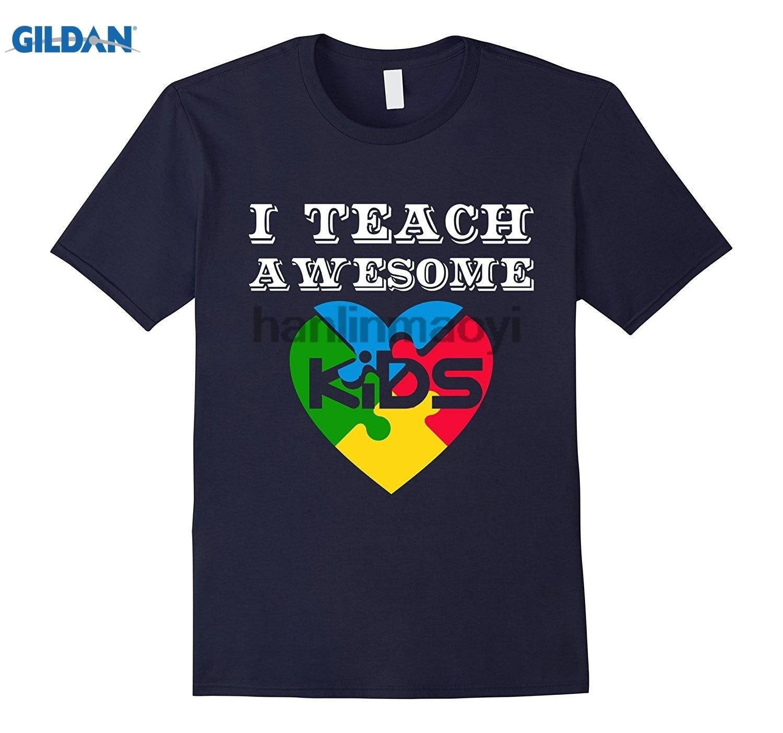GILDAN I Teach Awesome Kids Autism Awareness Gift T-Shirt