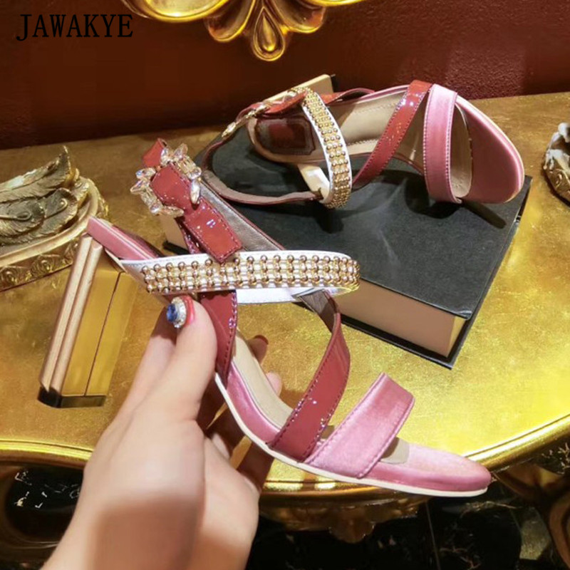 Summer sexy sandals women pink satin gold high heels crystal rhinestone buckles string beaded 2018 sexy dress shoes women все цены