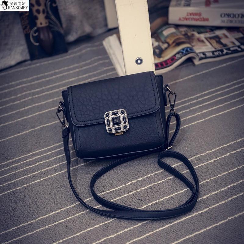 HANSOMFY  Wholesale 2015 New Winter Fashion Retro Texture Plum Square Lock Shoulder Bag Messenger Bag