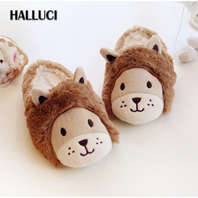 HALLUCI Cartoon Lovely lion home slippers shoes for woman casual indoor Couples shoes winter cute keep warm Slippers for women