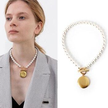 Pearl Beaded Gold Round Locket