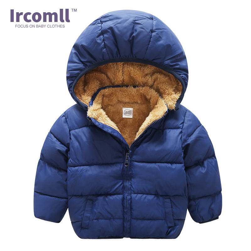 Ircomll Plush Warm Thinck Coat Children Clothes Baby Toddler Girls Winter Hooded Outerwear Down Jacket For Boys