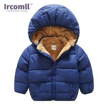 Ircomll Plush Warm Thinck Coat Children Clothes Baby Toddler Girls Winter Hooded Outerwear Down Jacket For Boys Girls 2016 winter boy girls down jacket outerwear children brand design zipper hooded down coats good quality baby boys warm clothes