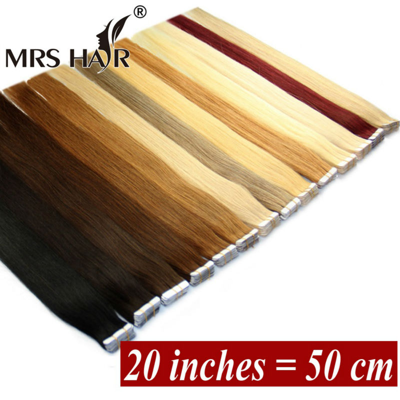 20Inches PU Skin Weft Tape In 20pcs Human Hair Blonde Brazilian Remy Seamless Adhesive Tape In Black 19 Colors MRS Hair Tape