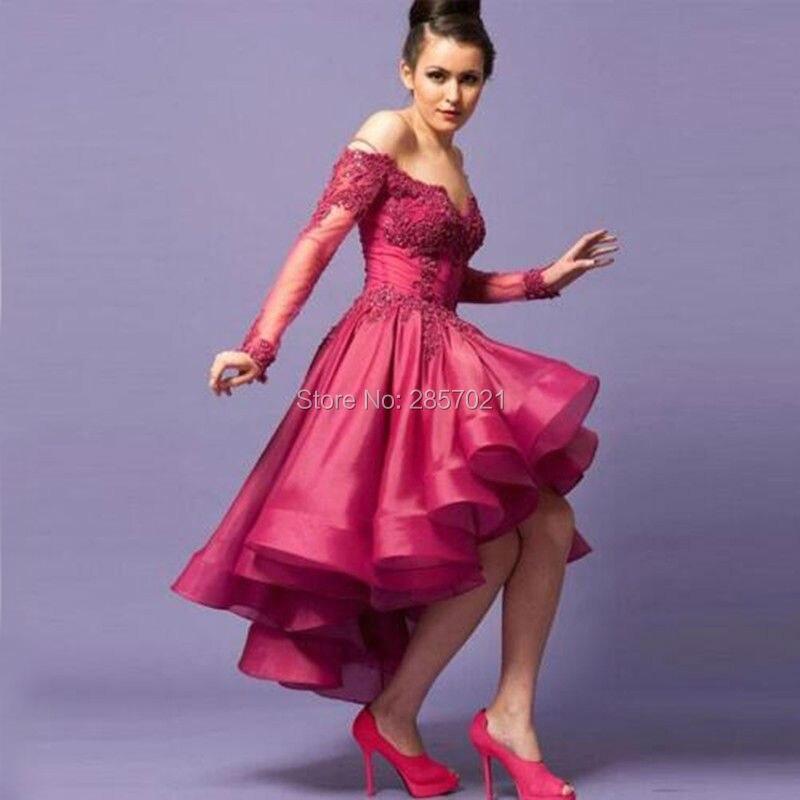 Bastante alto bajo asimétrico vestidos de baile corto fucsia de ...
