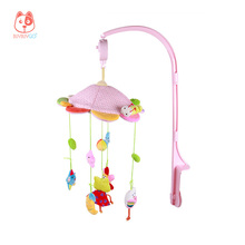 Frog & Owl Baby Rotating Music Rattle Plush Toys Pink Cartoon Mobile Bed Bells Music Box Hanging Toys for Crib Strollers Cradles