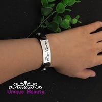 Leather Men Bracelet Custom Name Men Bracelet Solid Silver Charm Pendant Bracelet Christmas gift Birthday gift