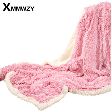 100% Velvet Mink And 100% Flannel Thread Blanket Home/Airplane/Travel Winter Warm Super Soft on the Bed Blankets Throws for Sofa