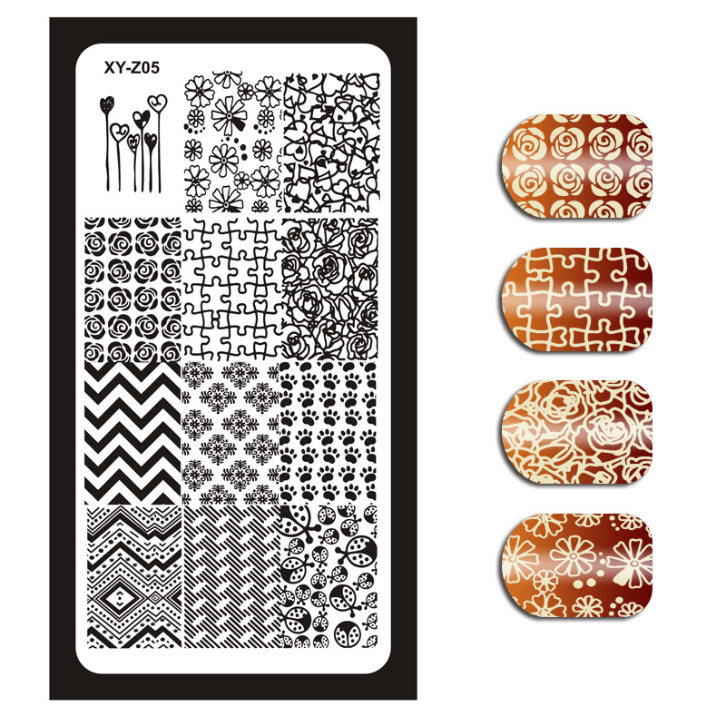 Image 5 - 1Pcs Nail Art Stamping Plates Template Geometric Flowers Butterfly Image Stencils Manicure Polish Transfer Tools For Nail XYZ 01-in Nail Art Templates from Beauty & Health