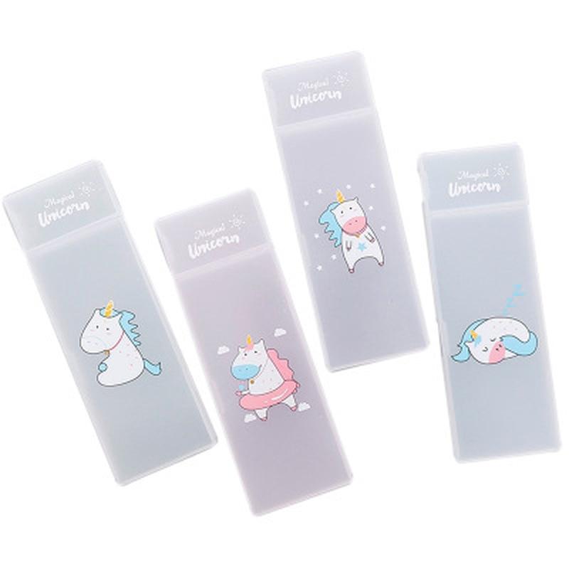 1pcs Unicorn Pencil Case Stationery Pen Bag Novelty Cute Pen Case Transparent Plastic Pencil Pouch Kawaii Bag School Supplies