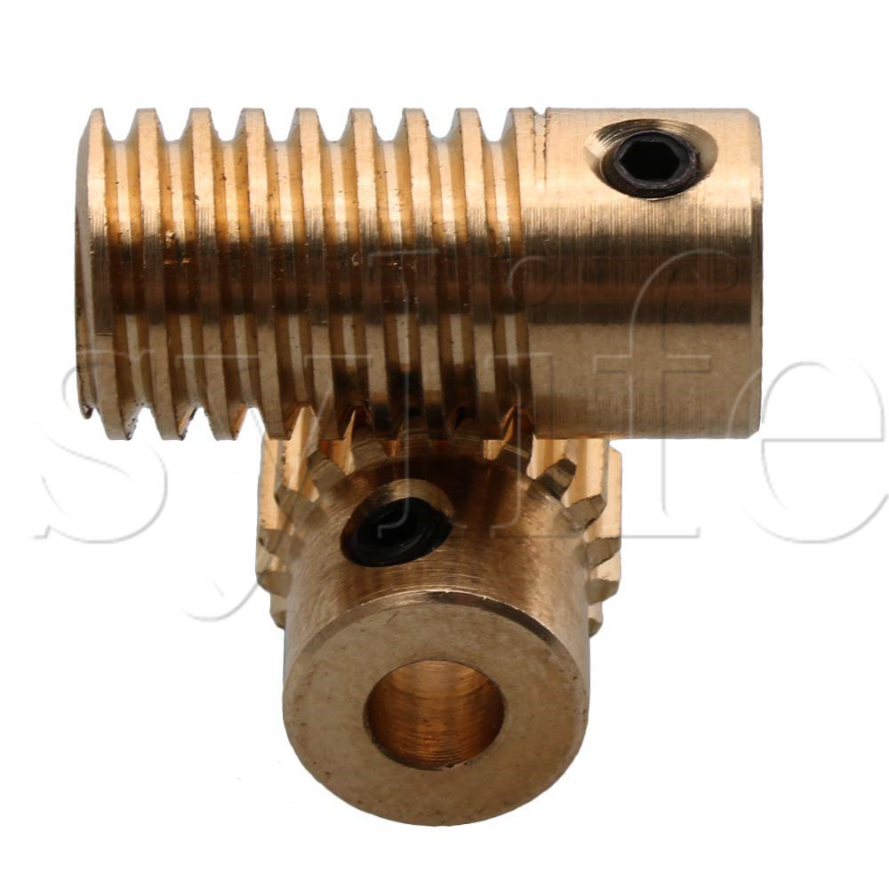 Yellow 0.5 Modulus Brass Worm Reducer 20 T Wore Gear Wheel + 4mm Bore Worm Gear Shaft Yellow 0.5 Modulus Brass Worm Reducer 20 T Wore Gear Wheel + 4mm Bore Worm Gear Shaft