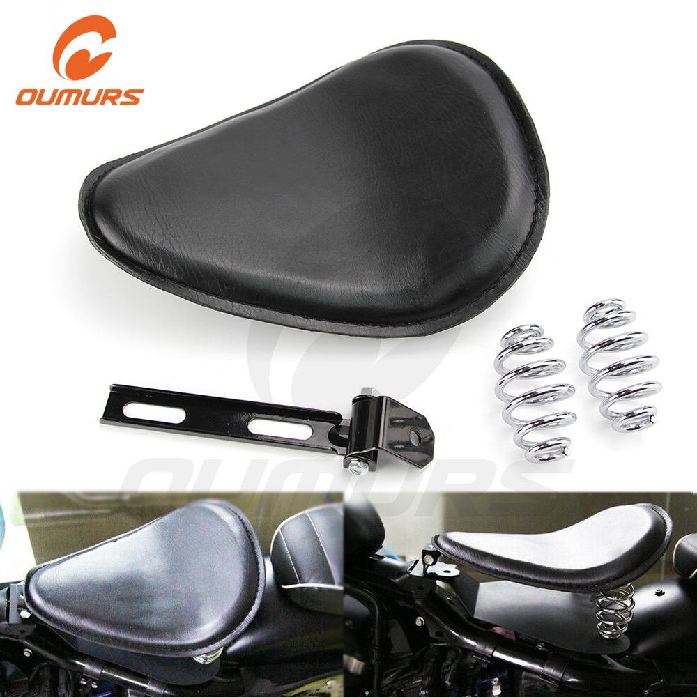 Bracket Mounting Kit For Harley Bobber Chopper Motorcycle Brown Synthetic Leather SOLO Seat Pan Cover Frame w// 3 Spring