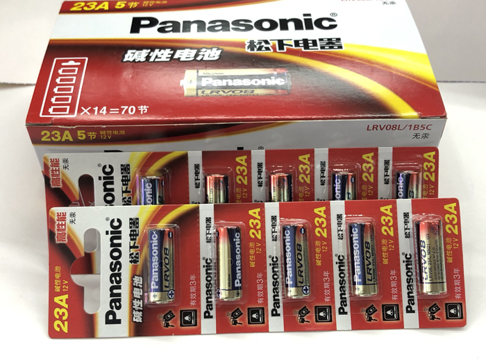 110pcs lot New 100 Genuine Panasonic LRV08L 1B5C 12V A23 23A Alkaline battery alarm batteries in Primary Dry Batteries from Consumer Electronics