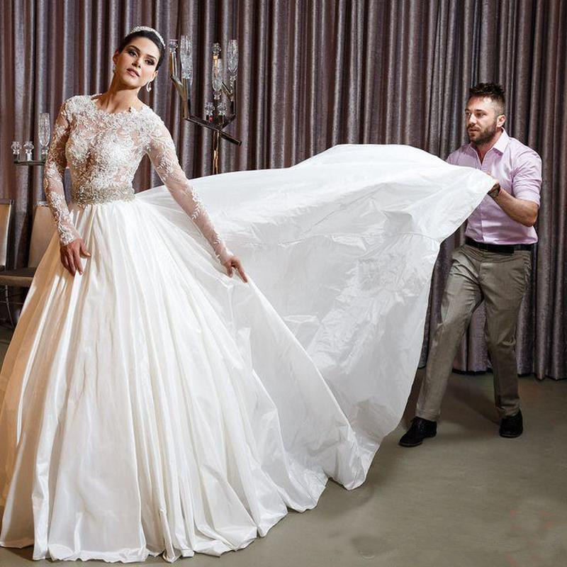 Long Sleeves Vestido De Noiva Muslim Wedding Dresses Ball Gown Taffeta Lace Beaded Boho Dubai Arabic Wedding Gown Bridal