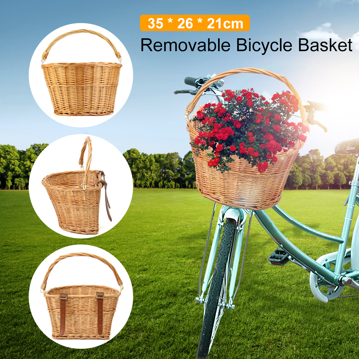 New Arrival Vintage Wicker Bike Bicycle Front Basket Shopping Box Handlebar Leather Straps High Quality Outdoor Sports Accessory