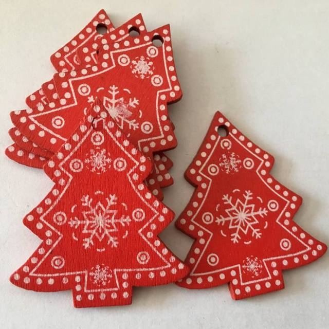 10pcs/set White Red Christmas Tree Ornament Wooden Hanging Pendants Angel Snow Bell Elk Star Christmas Decorations for Home 1