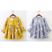 Bear Leader Girls Dress 2017 Brand Printing Princess Dress Autumn Style Long Sleeve Flowers Printing Design