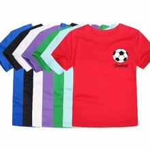 Summer Short Sleeve O Neck Cotton T Shirts Children Football