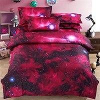 WARM TOUR 4PCS Red Duvet Covers 3D Galaxy Bedding Sets Space Cool Modern Soft Comforter Cover King Unique Duvet Cover Sets