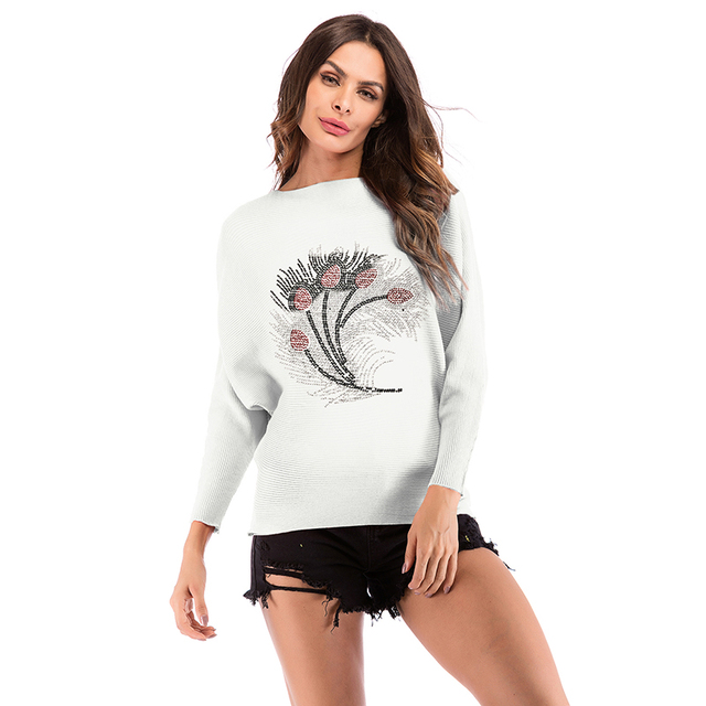 f55e83aad9c0a Kenancy Womens Off Shoulder Batwing Sleeve Loose Oversized Pullover Sweater  Knit Jumpe