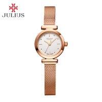 Rvs Eenvoudige Mini vrouwen Horloge Japan Quartz Uur Best Fashion Dress Armband Verjaardag Meisje Gift Julius Doos 769