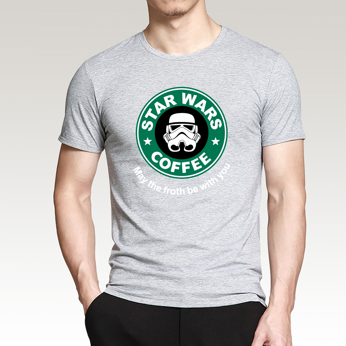 New 2019 Casual Men's T-shirts Custom Design T Shirt Printed star wars black white Cotton Short Sleeve Tops Tee Summer O-Neck