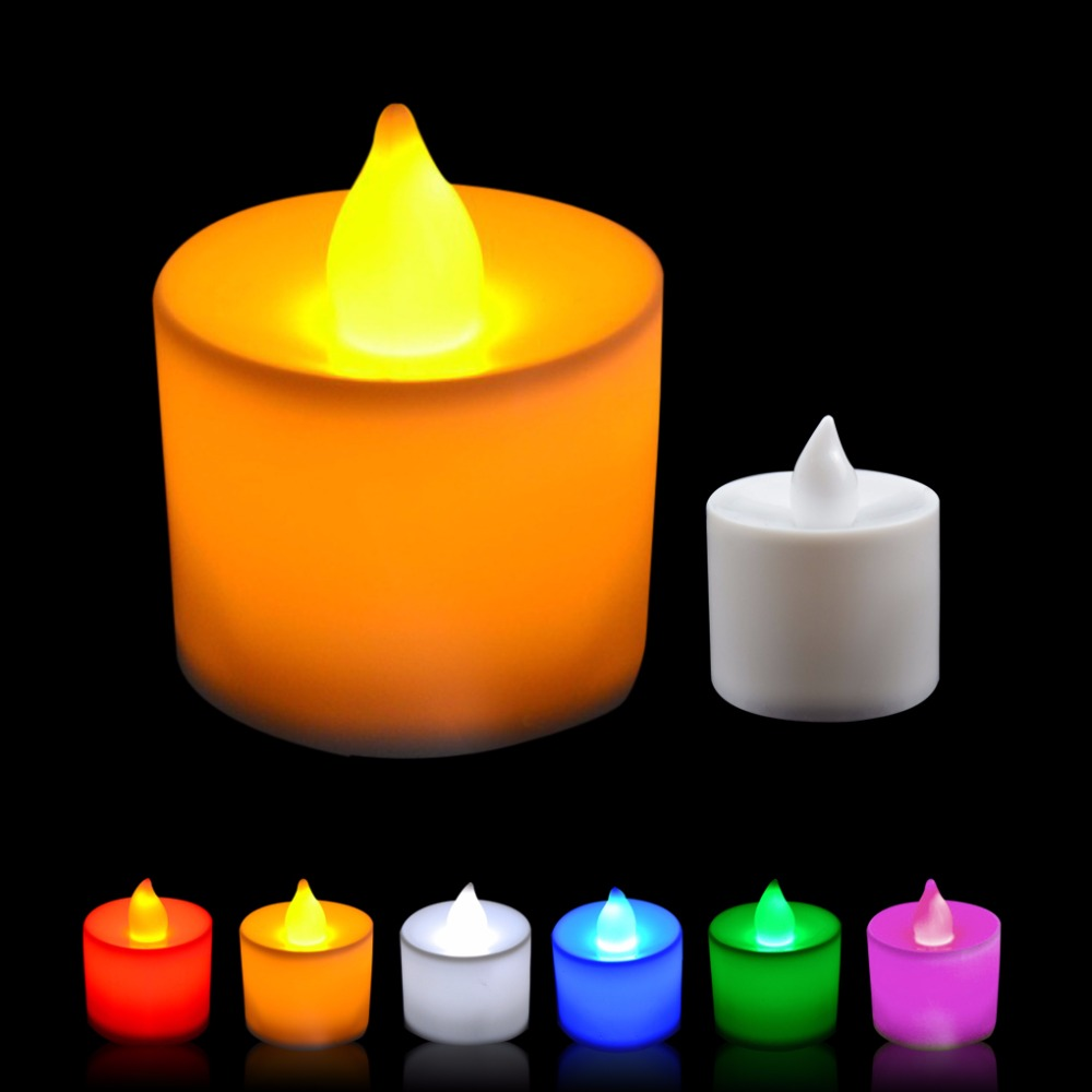 6Pcs/Set LED Flameless Candle Colorful Flicker Electric Candle Light With Button Battery Home Wedding Party Decoration
