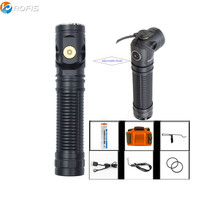 Rofis R3 Flashlight CREE XM L2 U3 LED max. 1250lm beam distance 194 meter adjustable head Magnetic Charging torch with battery