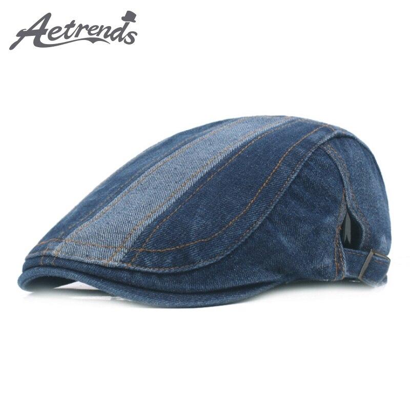Aetrends  2017 vintage Denim azul algodón Boinas sombreros para hombres  gorra boina sombrero z-5460 50b5d2ee9d8
