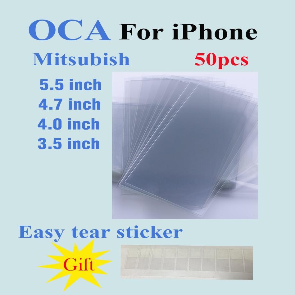imágenes para 50 unids/lote 250um oca adhesivo transparente óptico para iphone 5 5s 5c 4 4S 6 6 s 7 plus glue touch lente de cristal película + fácil tear pegatina regalo