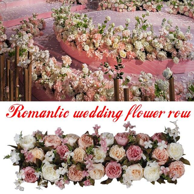 1M Weg Aangehaald Kunstbloemen Rij Wedding Decor Bloem Muur Gebogen Deur Winkel Bloem Rij Venster T Station Kerst flores