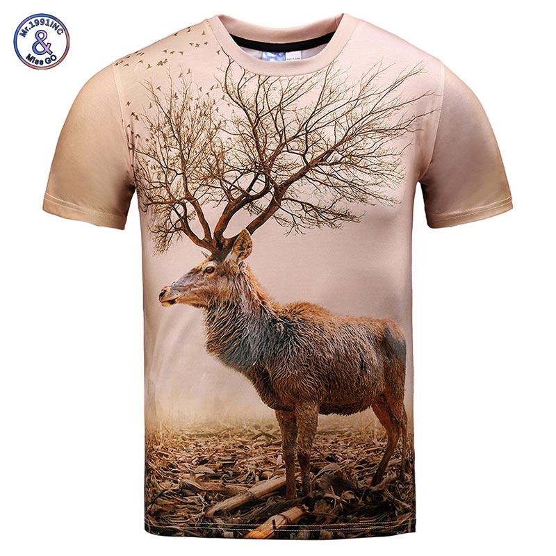 Mr.1991INC Sehr Schönes Modell T-shirt männer/frauen 3d t-shirt lustige drucken herbst baum antlers deer sommer tops tees plus größe XXXL