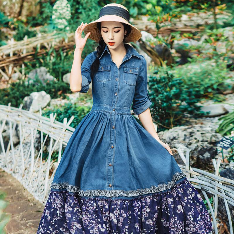 Linea Nuove Blu Lunghi Lolita Autunno Una Retro Dell'annata Cascading Vestiti Donne Vestito Di Stampa Donna Floreale Cuciture Denim Stile Increspato w8rqUw