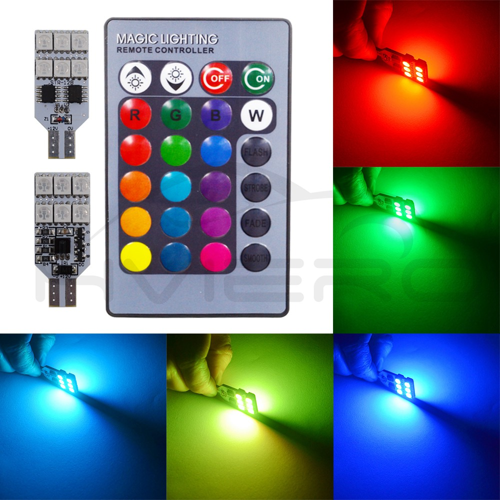 2X T10 RGB <font><b>12</b></font> <font><b>SMD</b></font> Multi Colors Changing <font><b>LED</b></font> Lamp Bulb Colorful Auto Bulbs Car Interior Light Remote Control Festoon Dome Light image