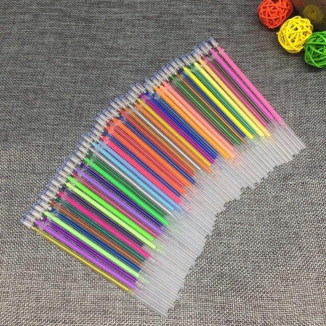 12 24 36 48 Cores/Set Flash Ballpint Caneta Gel Destaque Cor Recarga Recarga Completa Shinning Pintura Desenho da Pena Caneta de cor