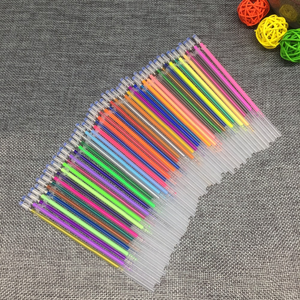 12 24 36 48Colors/Set Flash Ballpint Gel Pen Highlight Refill Color Full Shinning Refill Painting Pen Drawing Color Pen(China)